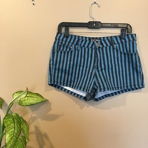 Blue and black striped jean shorts